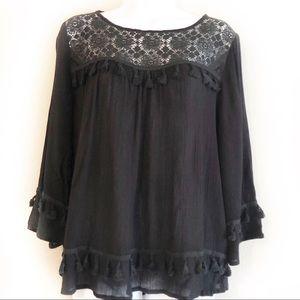NWT Black Tassel & Crochet Top Blouse